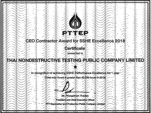 CEO Contractor Award for SSHE Excellence 2018